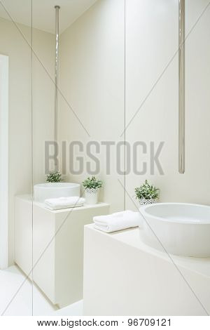 White Clean Toilet Interior