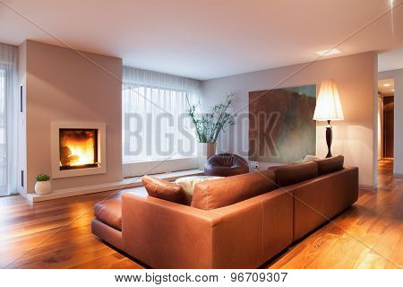 Burning Fireplace In Living Room