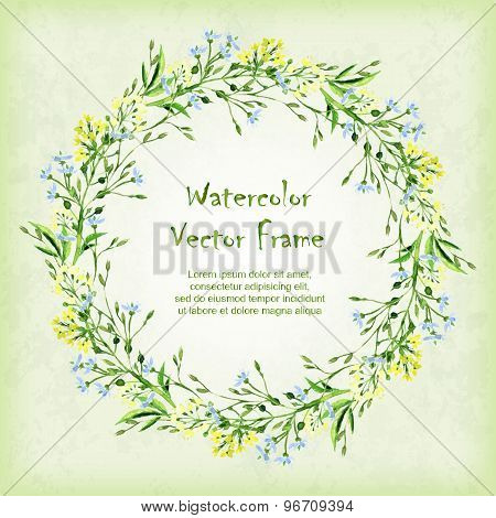 Vector Round Frame With Watercolor Herbs