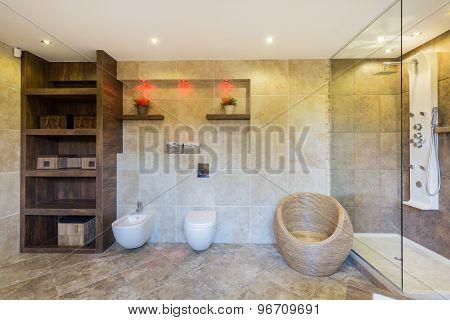 Designer Bathroom In Modern Apartment