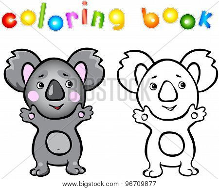 Funny Cartoon Koala Coloring Book