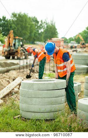 Concrete Circles At Road Construction