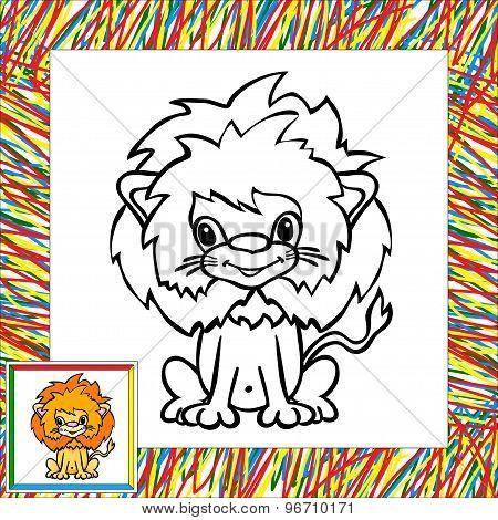 Funny Cartoon Lion Coloring Book