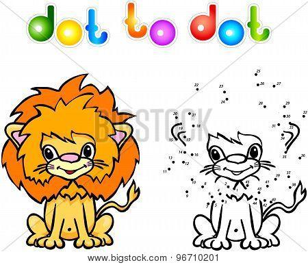 Funny Cartoon Lion Dot To Dot