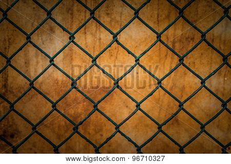 Steel Mesh Fence With Rust  Background