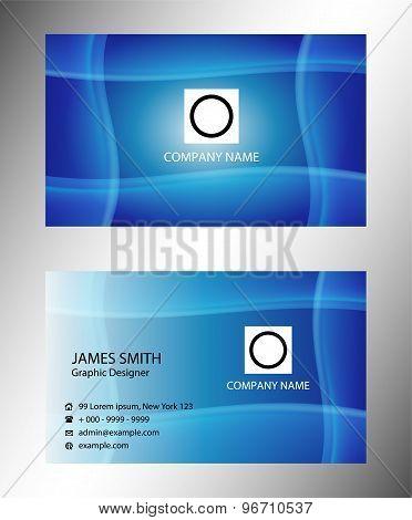 Blue wave corporate business card