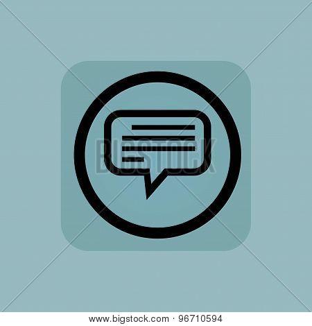 Pale blue text message sign