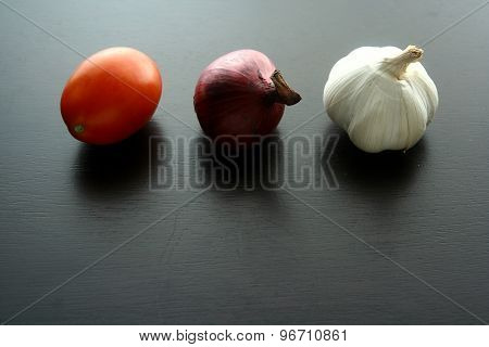 Onion, garlic and tomato