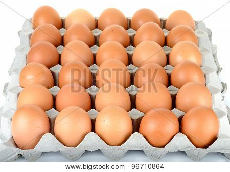 Egg In Packet Isolated On The White Background