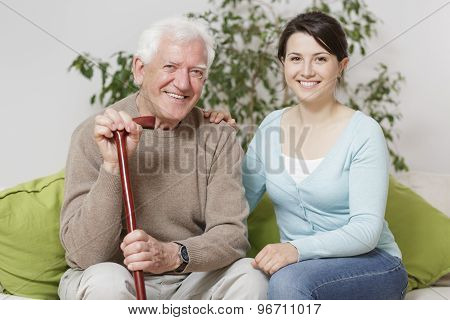 Smiling Senior Man Holding Can