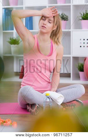 Tired Sportswoman After Workout