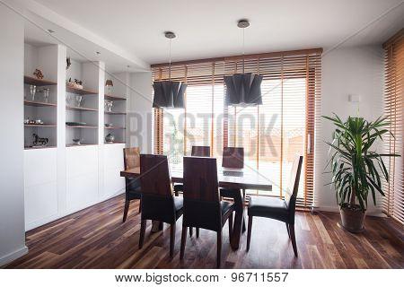 Wooden Parquet In Dinning Room