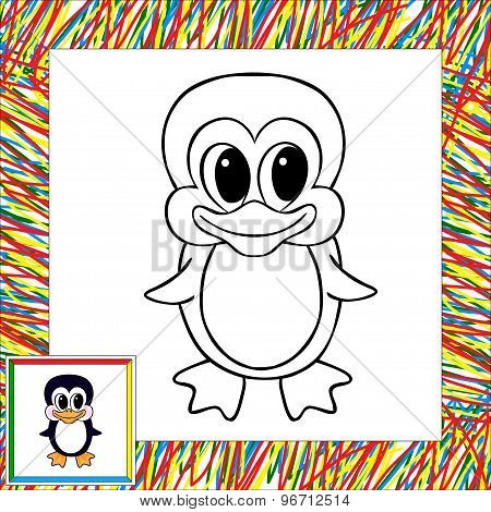 Cartoon Penguin Coloring Book With Border