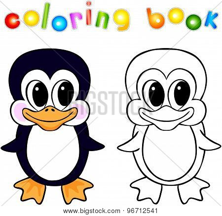Funny Cartoon Penguin Coloring Book