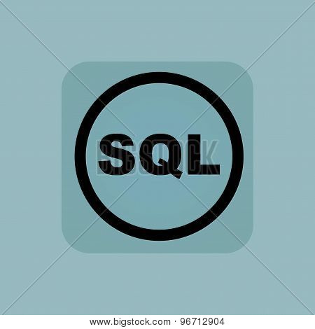 Pale blue SQL sign