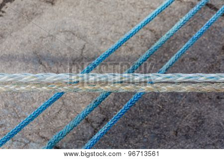 Three Blue Ropes And Two White
