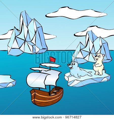 Sheep, Icebergs And Polar Bear