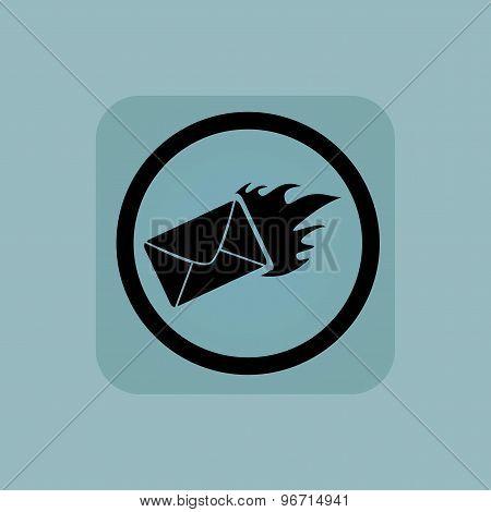 Pale blue burning letter sign