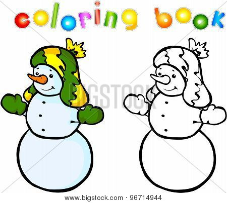 Funny Smiling Snowman Coloring Book