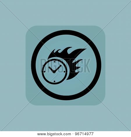 Pale blue burning time sign