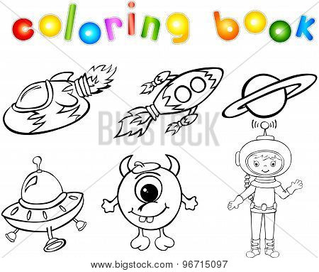 Astronaut, Rockets, Alien And Planet