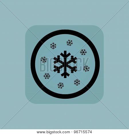 Pale blue snow sign