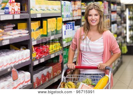 Portrait of a pretty smiling blonde woman buying products in supermarket