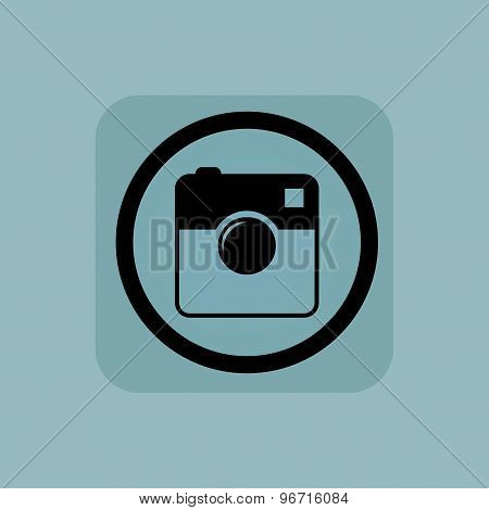 Pale blue square camera sign