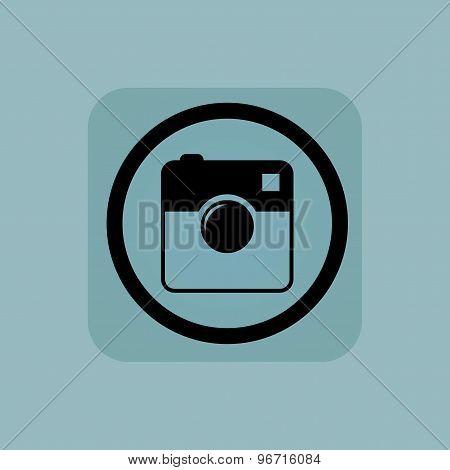 Pale blue square camera sign