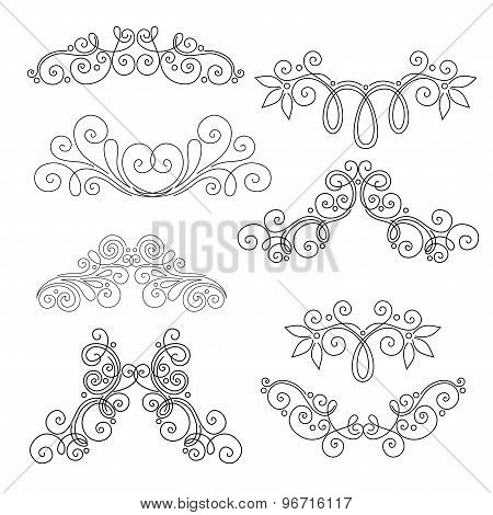 Vector Set of Calligraphic Design Elements and Page Decorations