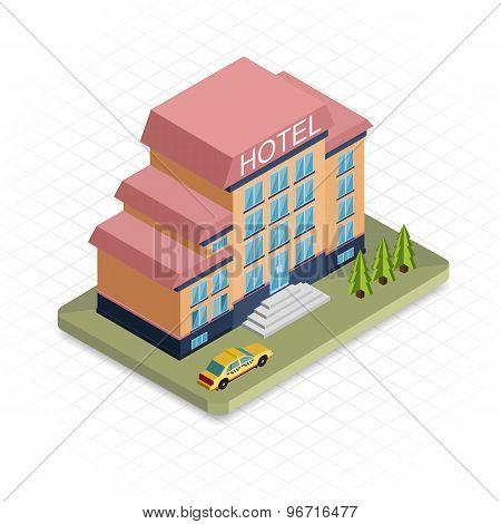 Hotel building. Isometric 3d pixel design icon.  Modern flat design.