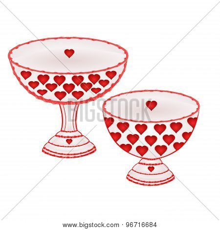 Cups  With Red Hearts Vector