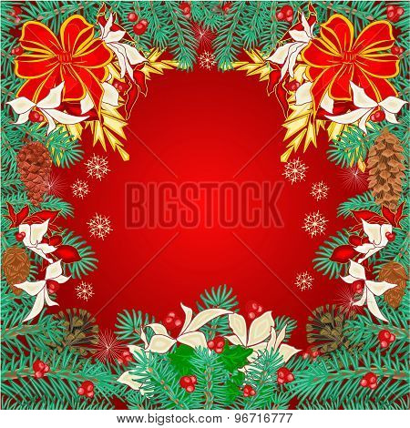 Merry Christmas Frame  Of Pine Needles Vector