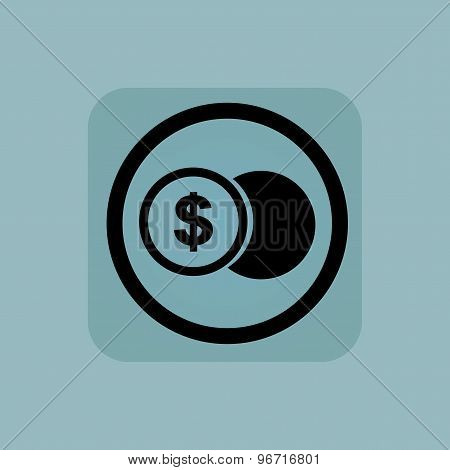 Pale blue dollar coin sign