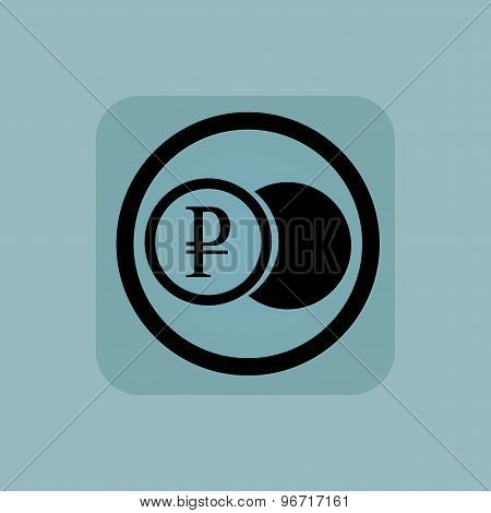 Pale blue ruble coin sign