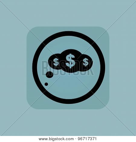 Pale blue dollar thought sign