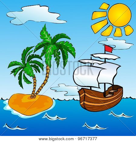 Sailship And Tropical Island