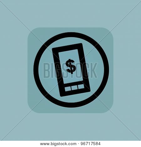 Pale blue dollar screen sign