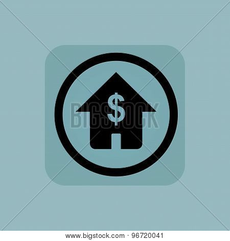 Pale blue dollar house sign