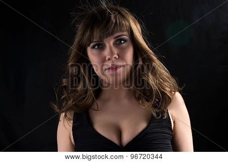 Photo of pudgy woman looking at camera