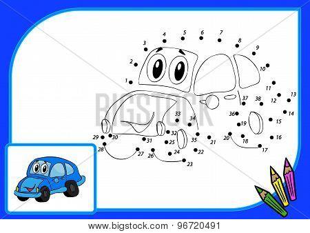 Coloring Book. Dot To Dot Car
