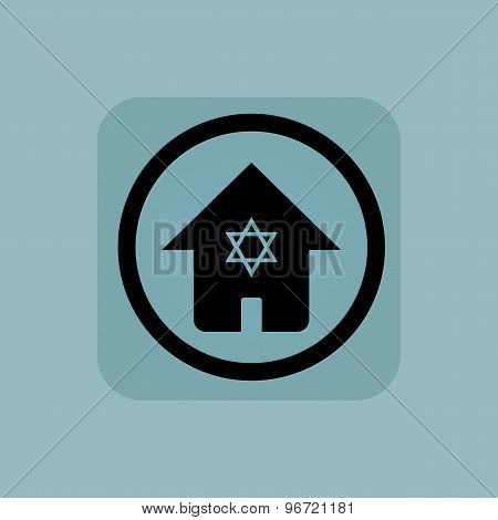 Pale blue jewish house sign