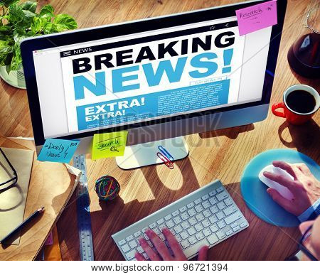 Digital Online Breaking News Headline Concept