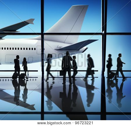 Airplane Aircraft Airport Business Travel Flight Transport Concept