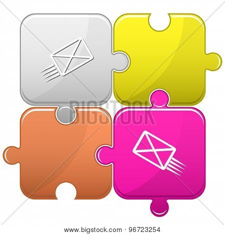 send mail. Vector puzzle.