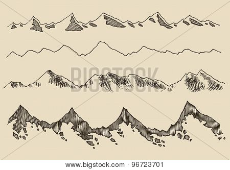 Mountains set contours Engraving Vector Hand Draw