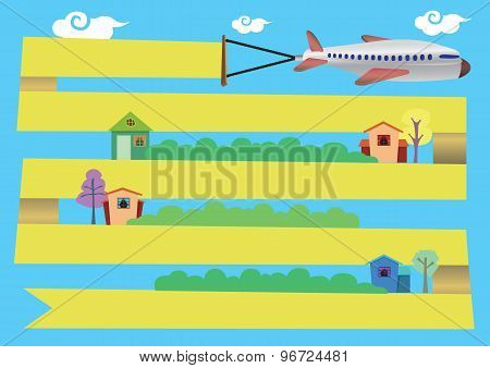 Airplane With Banner Flying Around Town Vector Cartoon Illustration