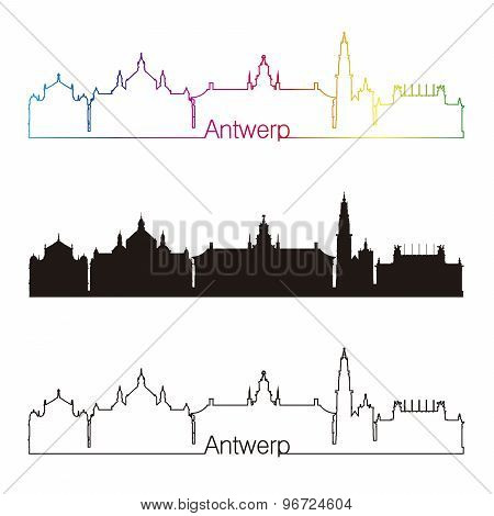Antwerp Skyline Linear Style With Rainbow