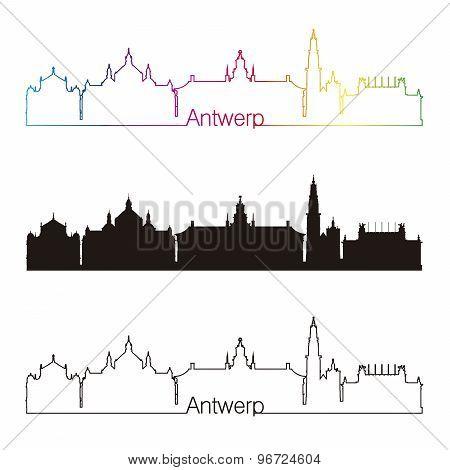 Antwerp Skyline Linear Style With Rainbow