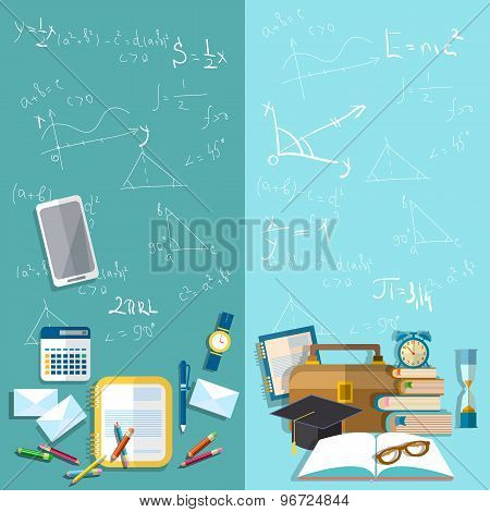 Science And Education: School Board, Mathematical Formulas, Table Student, School, vector banners